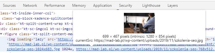 Chrome - optymalizacja obrazków, funkcja zbadaj