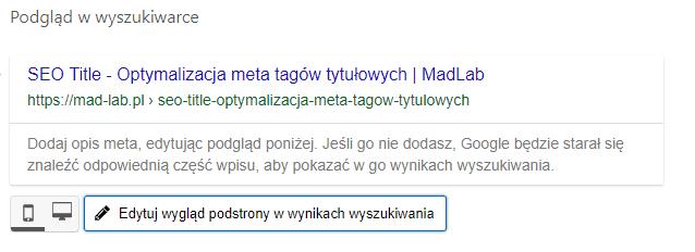 Podgląd na title w YOAST